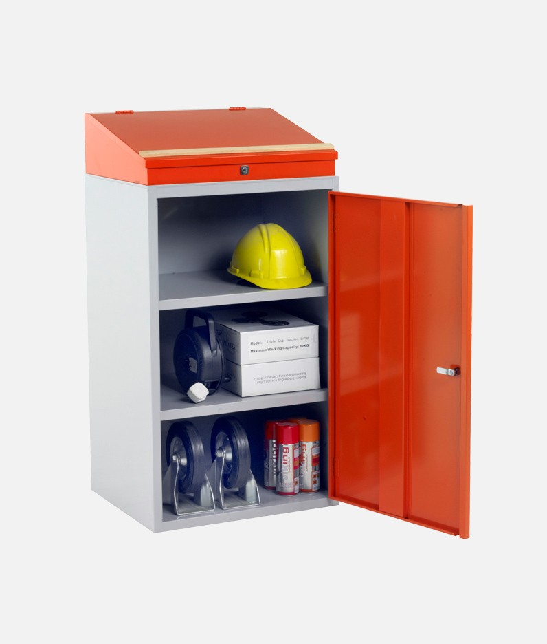 Workdesk with items stored inside