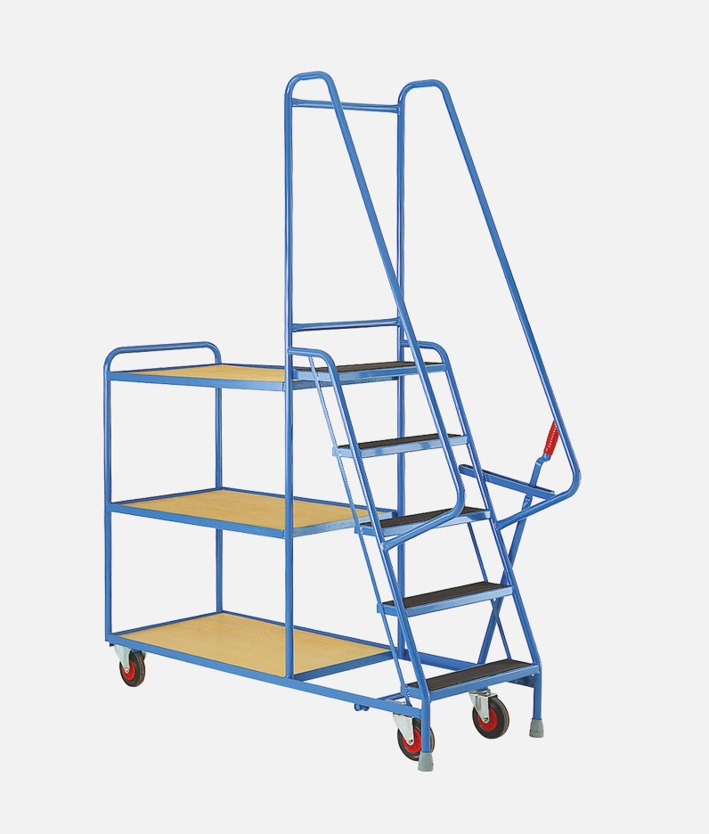 5 step trolley with shelves