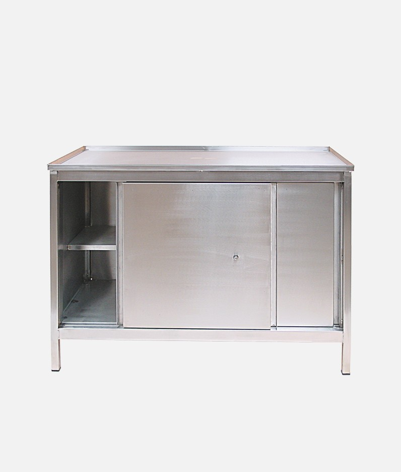 stainless steel workbench with cupboard
