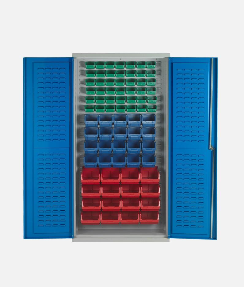 Bin cabinet with bins