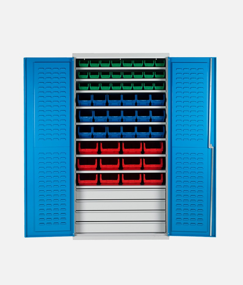 Bin cabinet with shelves