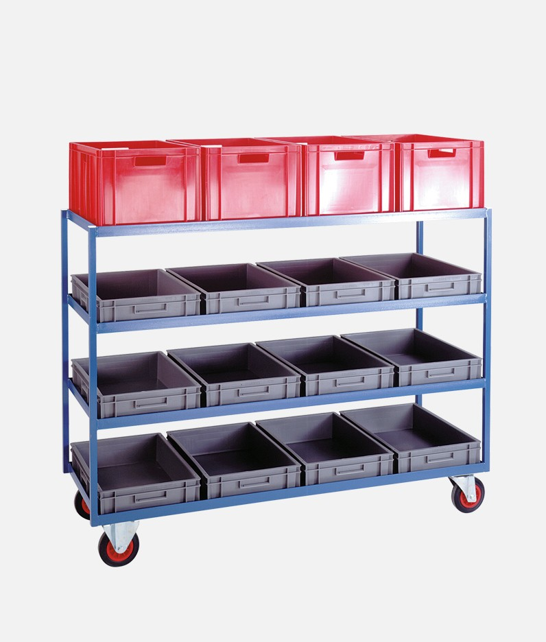 container shelf trolley with 16 bins