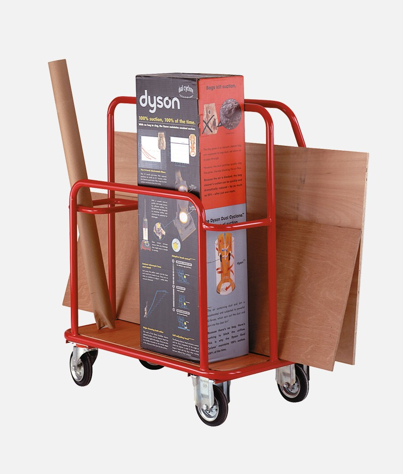 a DIY trolley with example items being moved