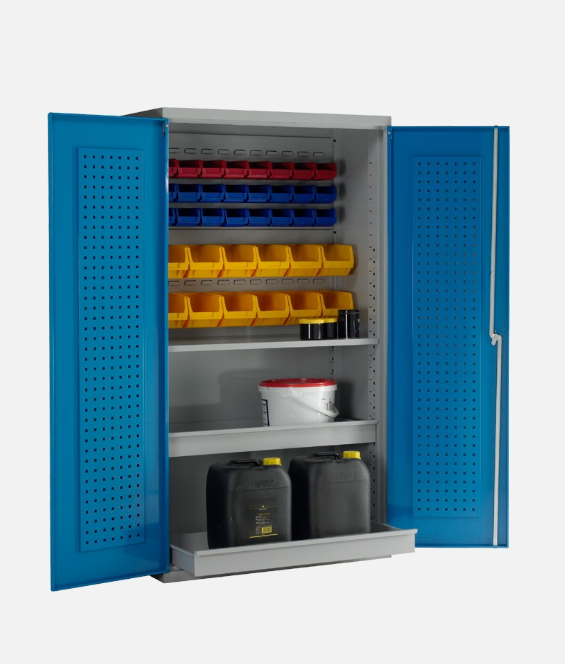 an easy order cabinet with bins and shelves