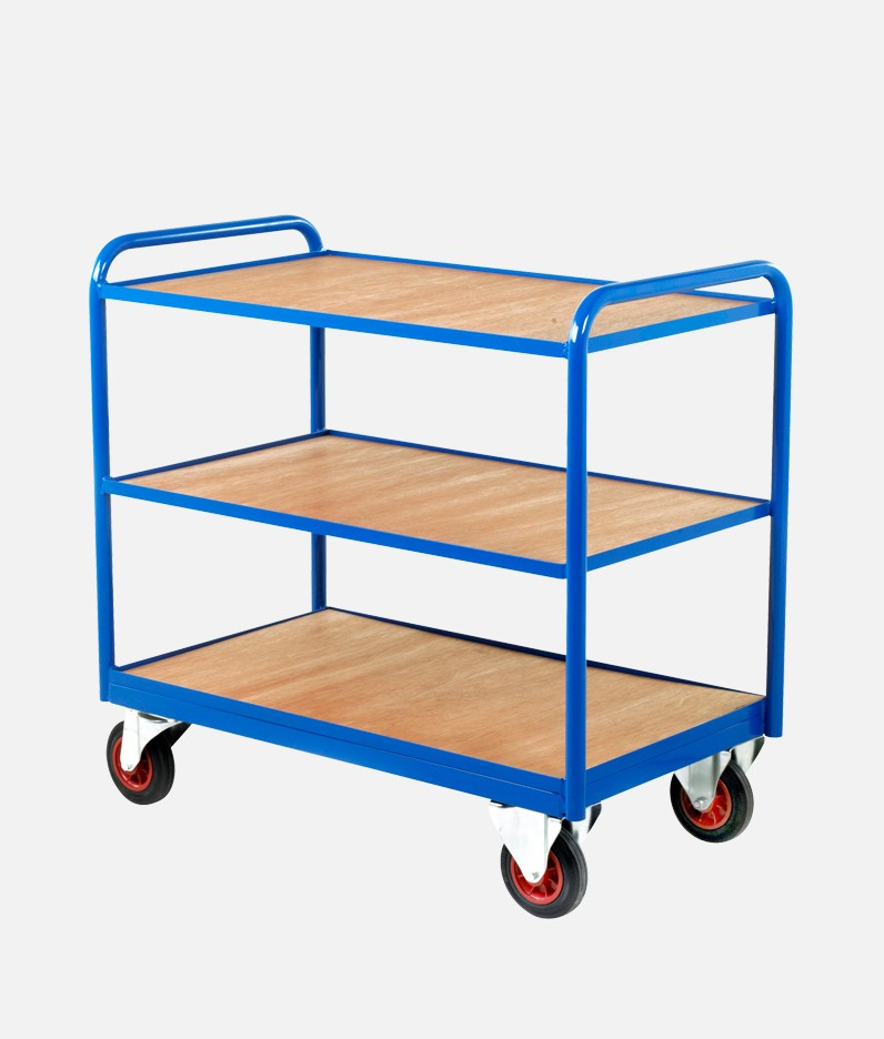 wooden surface industrial tray trolley