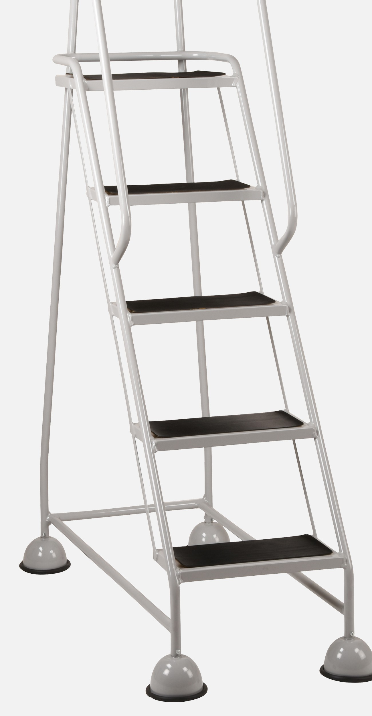 close up of mobile steps with castors