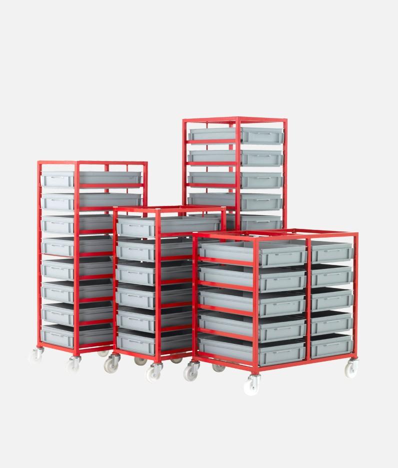 group of mobile tray racks