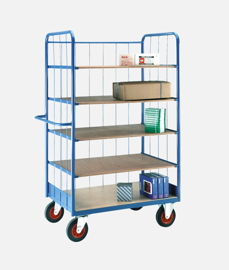 5 tier shelf truck with materials in use