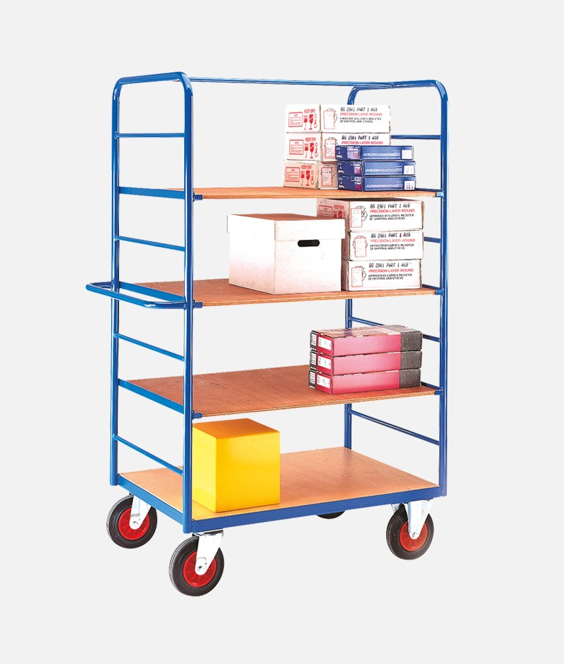 4 tier shelf truck with materials in use