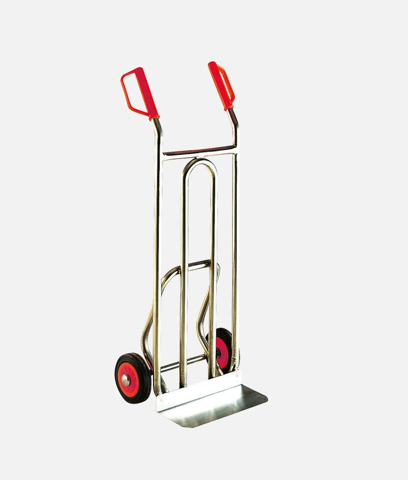 an upright stainless steel sack truck