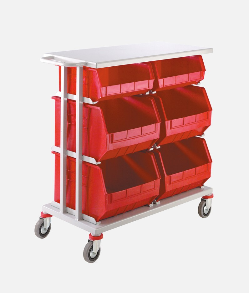 distribution trolley with large bins