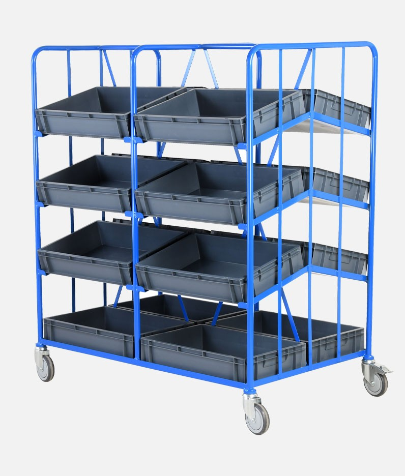 a mobile tray rack with trays